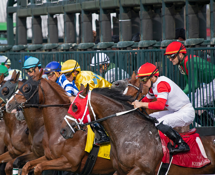 gate breaking scene<br /> Matt Carrouthers and Keeneland scenes at Keeneland on April 11, 2019 in Lexington,  Ky.