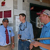 (L-R): Alan Sherman, Keith Latson DVM, and Logan Payne in between video endoscopic exams at Taylor Made<br /> at the Keeneland September Sale.