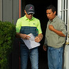 Caption: Drury with barn foreman Jose Garcia<br /> Bruce Lunsford at Skylight Training Center with his horse Art Collector and trainer Tommy Drury on Aug. 12, 2020 Skylight Training Center in Prospect, KY.