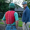 Caption:  (L-R): Destin Heath talks with Elliott Walden as WinStar horses walk after track work. <br /> A native of Oklahoma, Heath started working at WinStar Farm on October 10, 2014, and became the farm trainer in October of 2018. Presently he has about 100 horses in training at the WinStar Farm training center, where they have a 7 1/2-furlong main track and 3/4 of a mile undulating turf gallop.<br /> Daily Life series on Destin Heath, farm trainer at WinStar Farm on Aug. 11, 2020 WinStar Farm in Versailles, KY.