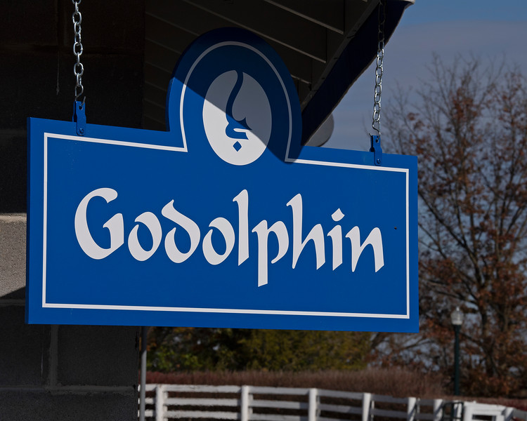 Godolphin sign at Barn 48<br /> on  Nov. 9, 2019 Keeneland in Lexington, KY.