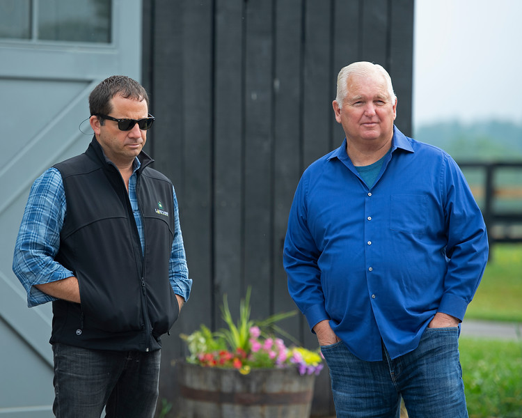 Caption: (L-R): advisor David Ingordo and Lee Searing<br /> Lee and Susan Searing look over their bloodstock (mares, foals, yearlings) at Springhouse Farm near Nicholasville, Ky., on June 22, 2020 Springhouse Farm in Nicholasville, KY.