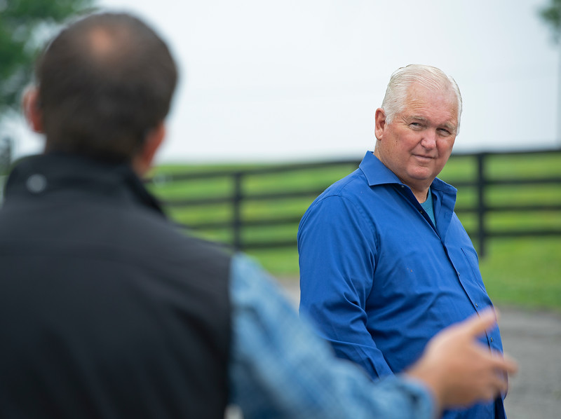 Caption: Lee Searing, right, listening to adviser David Ingordo<br /> Lee and Susan Searing look over their bloodstock (mares, foals, yearlings) at Springhouse Farm near Nicholasville, Ky., on June 22, 2020 Springhouse Farm in Nicholasville, KY.