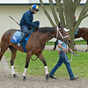Caption: Juliet Foxtrot with Florent Geroux<br /> Keeneland scenes and horses on April 25, 2020 Keeneland in Lexington, KY.