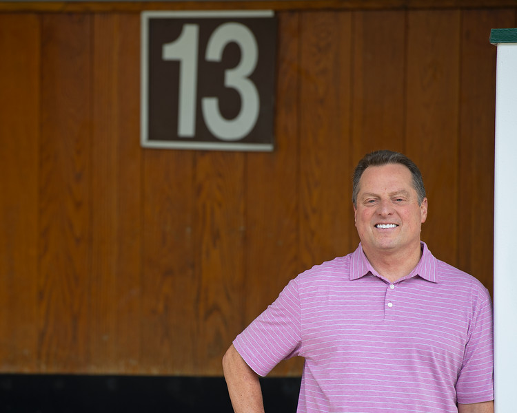 Caption: now a fan of post #13 (Serengeti Empress number in Ky Oaks) Amoss stands in saddling stall.<br /> Tom Amoss at Churchill Downs in Louisville, Ky. on July 12, 2020 Churchill Downs in Louisville, KY.
