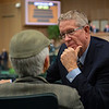 Scott Caldwell, right, talks with Stanley Petter during the sale.<br /> Keeneland January Horses of all ages sales on<br /> Jan. 17, 2020 Keeneland in Lexington, KY.