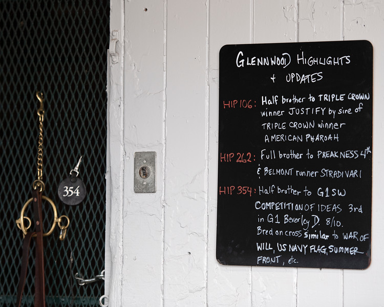 Sign at the Glennwood consignment<br /> at the Keeneland September Sale.