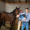 Keith Latson DVM, with Logan Payne holding horse, doing a video endoscopic exam of HIp 103 at Taylor Made<br /> at the Keeneland September Sale.