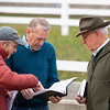 (L-R): Mark Taylor, John Henderson, Ryan Mahan, discussing pedigree updates at Taylor Made Sales consignment. Scenes during the Keeneland January sales on Jan. 11, 2020 Keeneland in Lexington, KY.