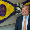 Caption: (note reflection in BC emblem)<br /> Breeders' Cup CEO and President Drew Fleming in the Breeders' Cup office in downtown Lexington, Ky., on June 16, 2020 Drew Fleming in Lexington, KY.
