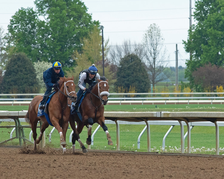 Caption: Monomoy Girl, left, with Florent Geroux, and Owendale (inside) with Mario Garcia work. <br /> Keeneland scenes and horses on April 25, 2020 Keeneland in Lexington, KY.