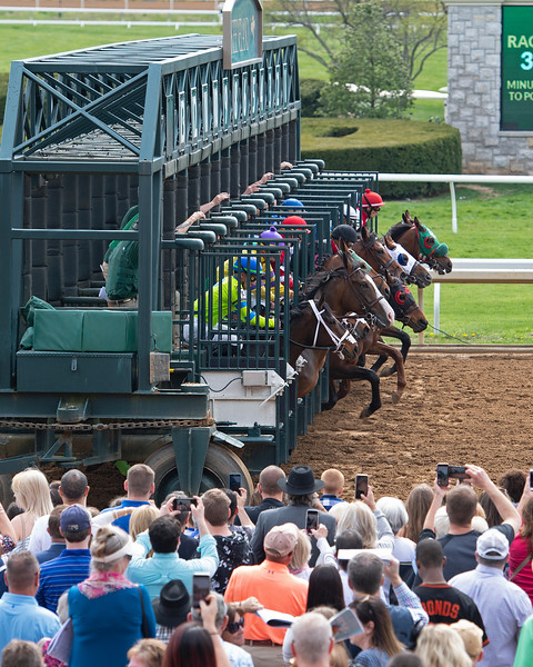 Start of Race 3 Our Alibi with John McKee and scenes at Keeneland in Lexington, Ky., on April 4, 2019