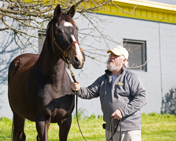 Caption: Beyond the Waves with Everett Charles.<br /> Broodmare of the Year Beyond the Waves (barren for 2020 and bred back to Oscar Performance in March) plus her 2019 yearling colt by Runhappy on April 3, 2020 Stone Farm in Paris, KY.