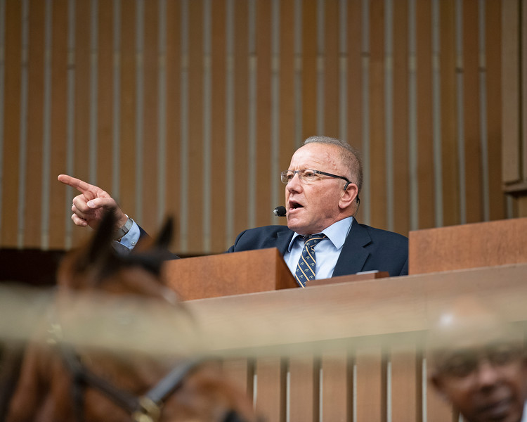 Cris Caldwell, auctioneer<br /> Keeneland January Horses of all ages sales on<br /> Jan. 17, 2020 Keeneland in Lexington, KY.