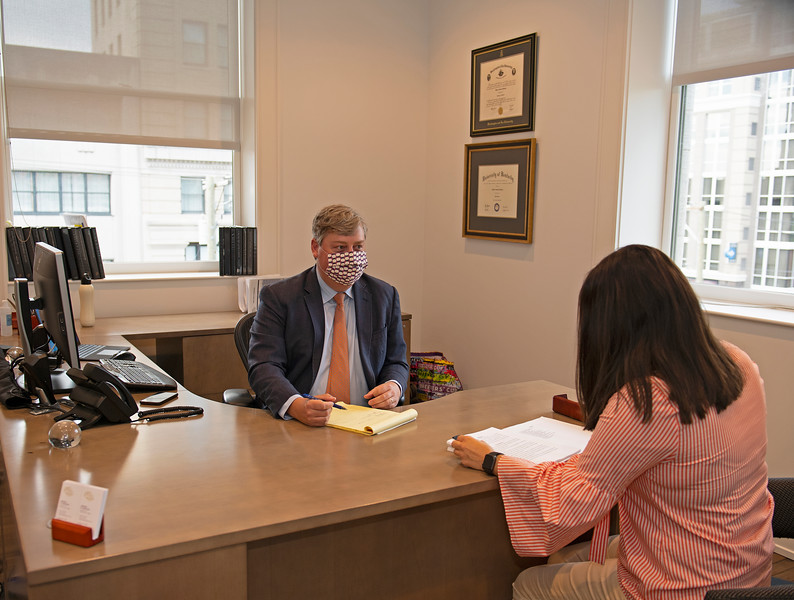 Caption: Drew meets with Courtney Reid, right. <br /> Breeders' Cup CEO and President Drew Fleming in the Breeders' Cup office in downtown Lexington, Ky., on June 16, 2020 Drew Fleming in Lexington, KY.