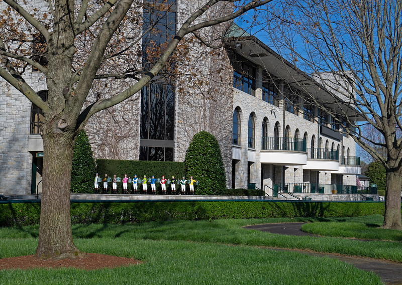 Caption: Saddling area and jockey statues representing the 2019 stakes winners<br /> Behind the Scenes at Keeneland during Covid19 virus and the people, horses, and essentials needed to take care of race horses on April 2, 2020 Keeneland in Lexington, KY.