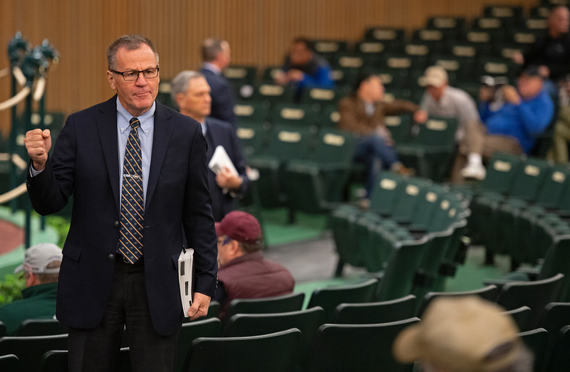 Bidspotters (Roger Spencer front left) in action at Keeneland<br /> Keeneland January Horses of all ages sales on<br /> Jan. 15, 2020 Keeneland in Lexington, KY.