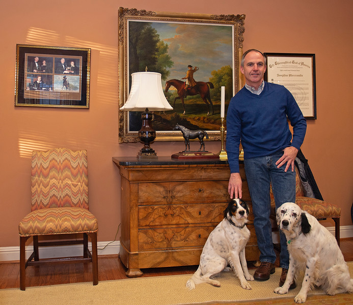 Clifford Barry with his two English Setters, Chico and Chavo at<br /> Pin Oak Stud<br /> at  Nov. 8, 2019 Pin Oak Stud in Versailles, KY.