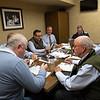 Sales team meeting with consignor Dermot Carty. (L-R): Dermot Carty, John Henderson. (partially hidden), Scott Hazelton, Scott Caldwell, Justin Holmberg, Gabby Gaudet, Kurt Becker, and Ryan. Mahan on  Jan. 13, 2020 Keeneland in Lexington, KY.