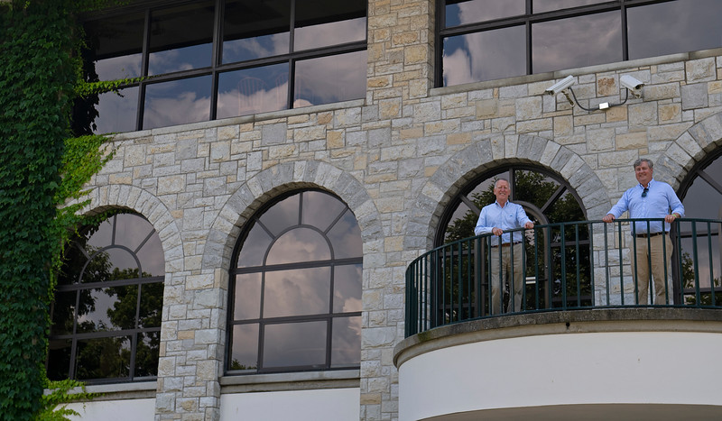 Caption: on second floor viewing area<br /> Drew Fleming with Bill Thomason at Keeneland in Lexington, Ky., on June 19, 2020 Keeneland in Lexington, KY.