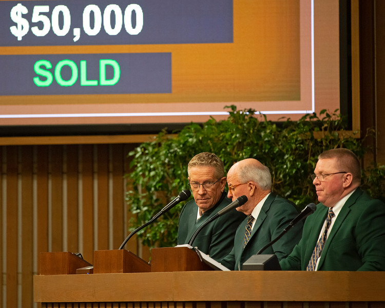 (L-R): Scott Caldwell and Ryan Mahan as Kurt Becker announces next horse.<br /> Keeneland January Horses of all ages sales on<br /> Jan. 14, 2020 Keeneland in Lexington, KY.