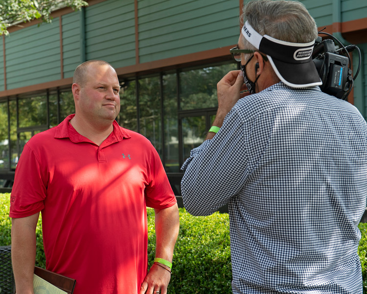 Jeremiah Englehardt gets interviewed by Hennegan Brothers<br /> Fasig-Tipton Selected Yearlings Showcase in Lexington, KY on September 10, 2020.