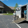 Caption: Rusty Ford, left, talks with van driver/owner Mike Lake Sr., after a mare is loaded onto the van after breeding<br /> Rusty Ford at WinStar near Versailles, Ky., on May 1, 2020 WinStar in Versailles, KY.