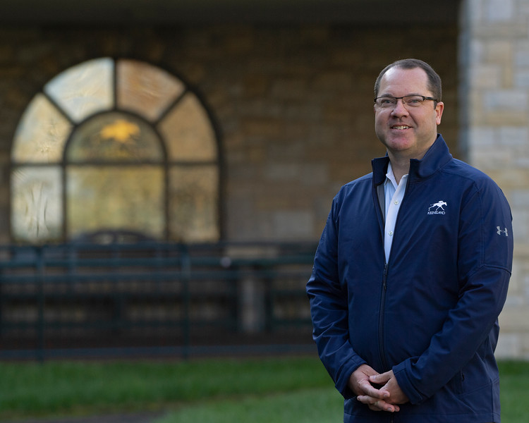 Caption: Vince Gabbert, VP and Chief Operating Officer<br /> Behind the Scenes at Keeneland during Covid19 virus and the people, horses, and essentials needed to take care of race horses on April 2, 2020 Keeneland in Lexington, KY.