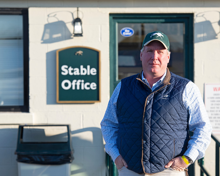 Caption: Wayne Mogge, Stable Manager<br /> Behind the Scenes at Keeneland during Covid19 virus and the people, horses, and essentials needed to take care of race horses on April 2, 2020 Keeneland in Lexington, KY.