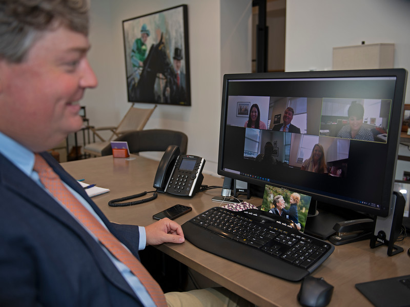 Caption: on a Zoom meeting with members of the Racing department.<br /> Breeders' Cup CEO and President Drew Fleming in the Breeders' Cup office in downtown Lexington, Ky., on June 16, 2020 Drew Fleming in Lexington, KY.