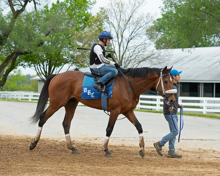 Caption: Owendale with Mario Garcia<br /> Keeneland scenes and horses on April 25, 2020 Keeneland in Lexington, KY.
