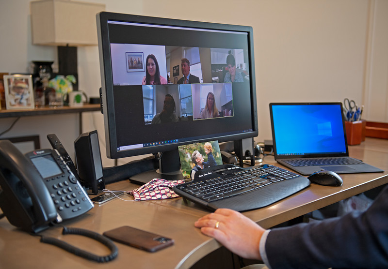 Caption: Drew on Zoom meeting with Racing department, l-r, Courtney Reid, Drew, Dora Delgado, Josh Christian, Erin McLaughlin<br /> Breeders' Cup CEO and President Drew Fleming in the Breeders' Cup office in downtown Lexington, Ky., on June 16, 2020 Drew Fleming in Lexington, KY.