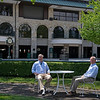Caption: in the paddock where tables are located during the off season.<br /> Drew Fleming with Bill Thomason at Keeneland in Lexington, Ky., on June 19, 2020 Keeneland in Lexington, KY.