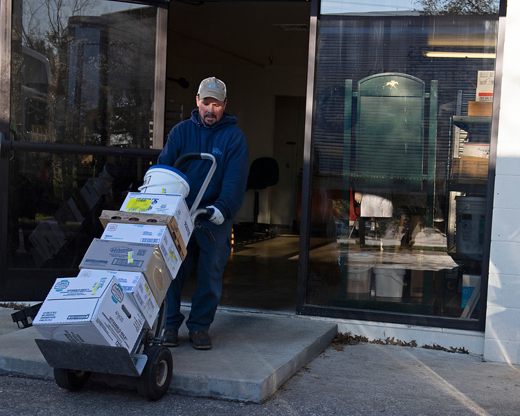 Caption: Derrick Johnsn with Sysco delivers food supplies in to the back door of the track kitchen<br /> Behind the Scenes at Keeneland during Covid19 virus and the people, horses, and essentials needed to take care of race horses on April 2, 2020 Keeneland in Lexington, KY.
