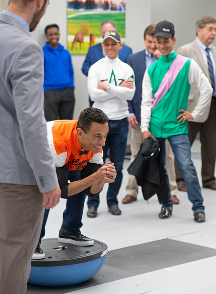 Balance testing with John Velazquez on the Bosu Ball with Nick Heebner with UK.<br /> Keeneland morning scenes at Keeneland.<br /> Jockey Equestrian Initiative at University of Kentucky Sports Medicine Research Institute<br />  on April 11, 2019 in Lexington, Ky.
