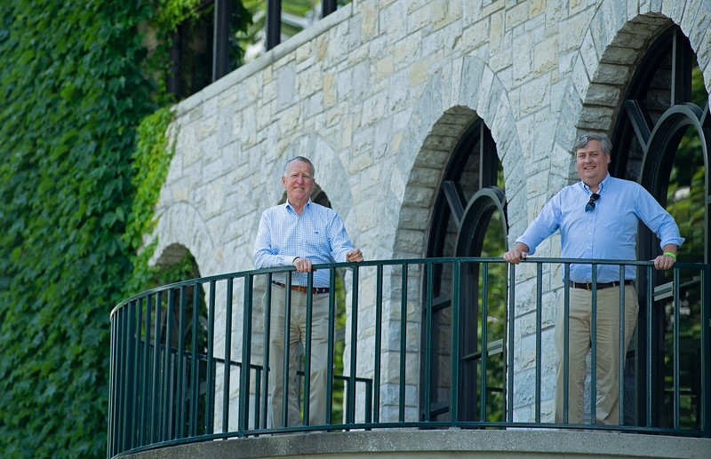 Caption:<br /> Drew Fleming (right) with Bill Thomason at Keeneland in Lexington, Ky., on June 19, 2020 Keeneland in Lexington, KY.