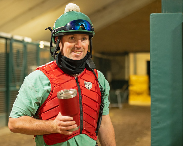 Caption: coffee break between sets<br /> A native of Oklahoma, Heath started working at WinStar Farm on October 10, 2014, and became the farm trainer in October of 2018. Presently he has about 100 horses in training at the WinStar Farm training center, where they have a 7 1/2-furlong main track and 3/4 of a mile undulating turf gallop.<br /> Daily Life series on Destin Heath, farm trainer at WinStar Farm on Aug. 11, 2020 WinStar Farm in Versailles, KY.