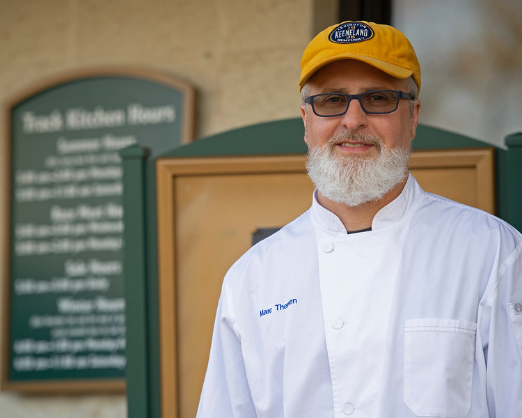 Caption: Chef Marc Therrien outside the track kitchen.<br /> Behind the Scenes at Keeneland during Covid19 virus and the people, horses, and essentials needed to take care of race horses on April 2, 2020 Keeneland in Lexington, KY.