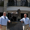 Caption: by the ecorche statue<br /> Drew Fleming with Bill Thomason at Keeneland in Lexington, Ky., on June 19, 2020 Keeneland in Lexington, KY.