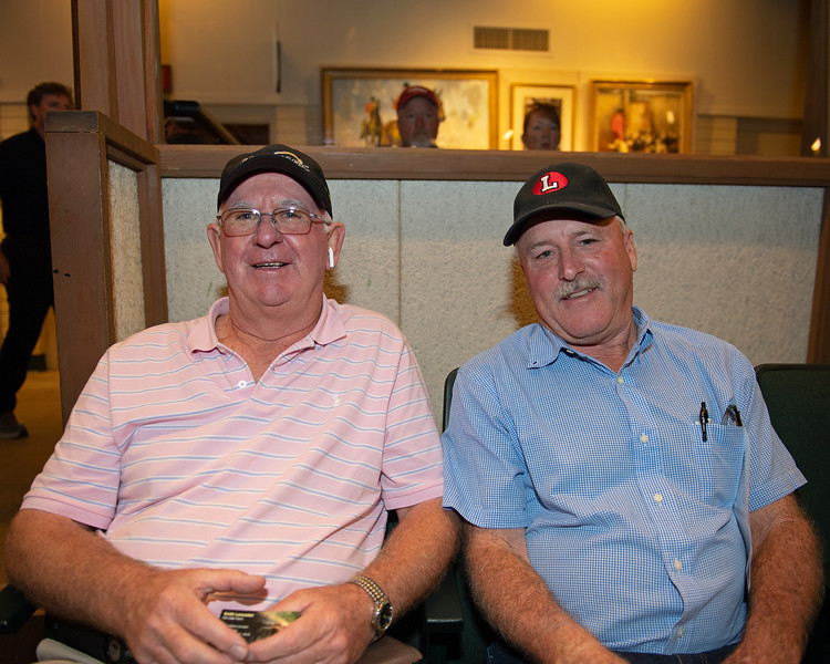 (L-R): Mike Ryan and Keith Lancaster, buyer and consignor of Hip 2995<br /> at Keeneland September sale.