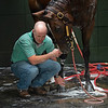 Caption: love from Fred during his bath<br /> A native of Oklahoma, Heath started working at WinStar Farm on October 10, 2014, and became the farm trainer in October of 2018. Presently he has about 100 horses in training at the WinStar Farm training center, where they have a 7 1/2-furlong main track and 3/4 of a mile undulating turf gallop.<br /> Daily Life series on Destin Heath, farm trainer at WinStar Farm on Aug. 11, 2020 WinStar Farm in Versailles, KY.