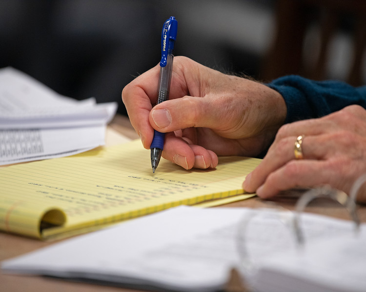 John Henderson writing up notes from visit to barn area before sales. Scenes during the Keeneland January sales on Jan. 11, 2020 Keeneland in Lexington, KY.