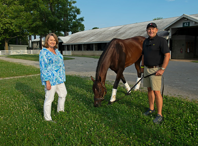 Caption:  (L-R): Anna Cambron, La Signare, Tim Cambron. at Brendan Walsh barn at Keeneland.<br /> Tim and Anna Cambron at Ruggles sign company in Versailles, Ky. on July 8, 2020 Ruggles in Versailles, KY.