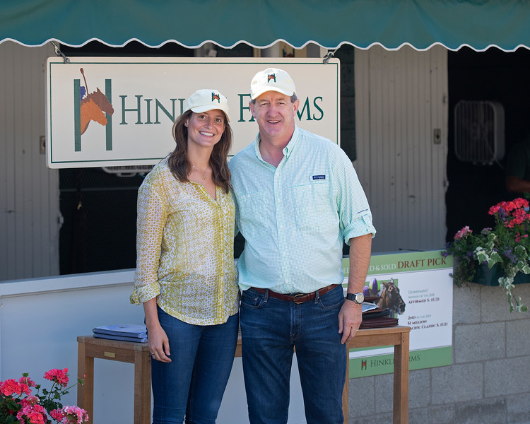 (L-R): Anne Archer Hinkle and Tom Hinkle with Hinkle Farms consignment<br /> at the Keeneland September Sale.