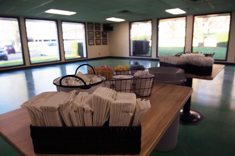 Caption: tables removed, only takeout<br /> Behind the Scenes at Keeneland during Covid19 virus and the people, horses, and essentials needed to take care of race horses on April 2, 2020 Keeneland in Lexington, KY.