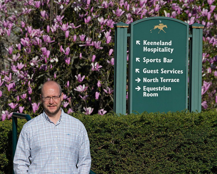 Caption: Justin Frakes, Director of Building Services<br /> Behind the Scenes at Keeneland during Covid19 virus and the people, horses, and essentials needed to take care of race horses on April 2, 2020 Keeneland in Lexington, KY.