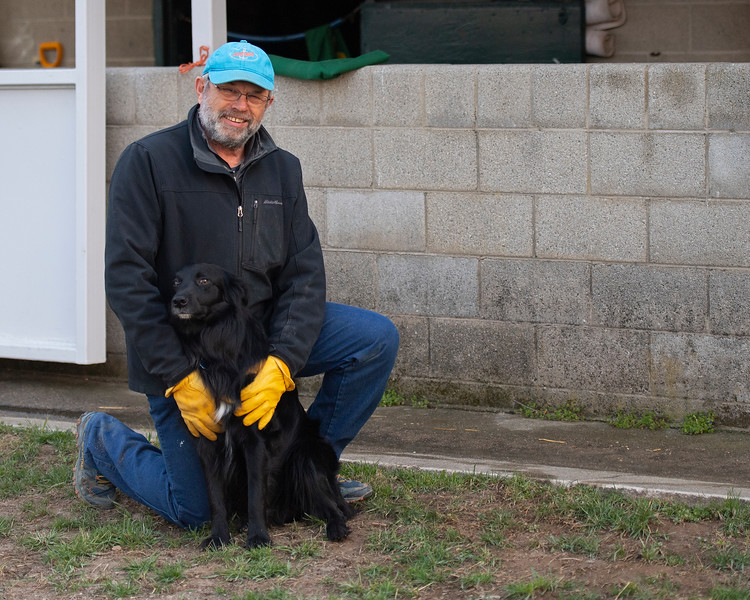 Mark Hubley with his dog Hap at KatieRich<br /> Morning sales and racing scenes at Keeneland in Lexington, Ky., on April 4, 2019