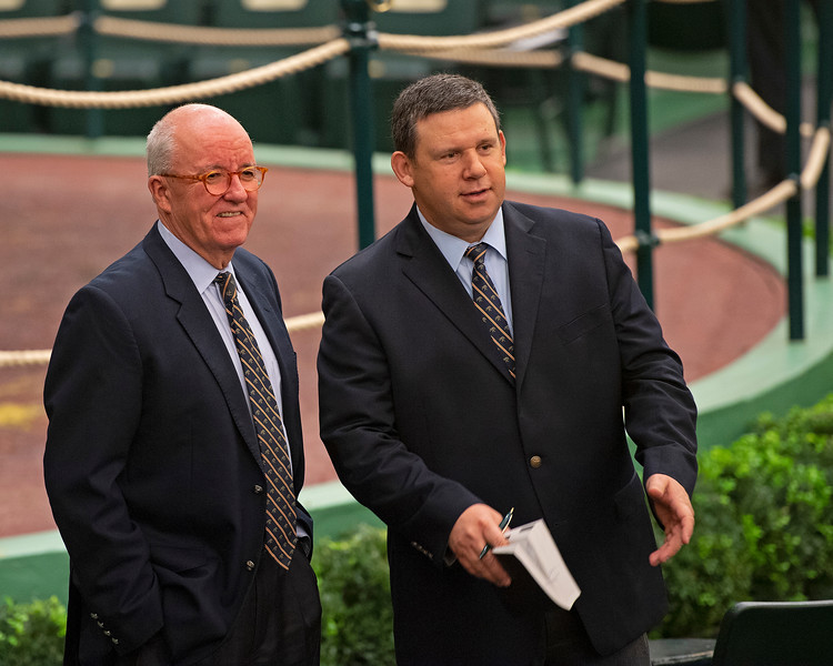 (L-R): Ryan Mahan with bidspotter  Ty McClary<br /> Keeneland January Horses of all ages sales on<br /> Jan. 17, 2020 Keeneland in Lexington, KY.