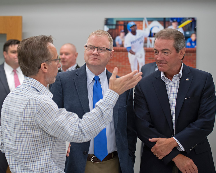 Remi Bellocq, left, talks with Damon Thayer (center) and David Osborne (right).<br /> Keeneland morning scenes at Keeneland.<br /> Jockey Equestrian Initiative at University of Kentucky Sports Medicine Research Institute<br />  on April 11, 2019 in Lexington, Ky.