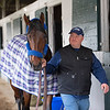 trainer Blaine Wright with Anothertwistafate.<br /> Keeneland morning scenes at Keeneland<br />  on April 11, 2019 in Lexington, Ky.